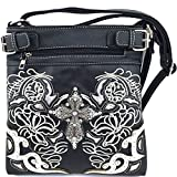 Embroidered Western Rhinestone Cross Messenger Bag Cross Body Purse (Black)