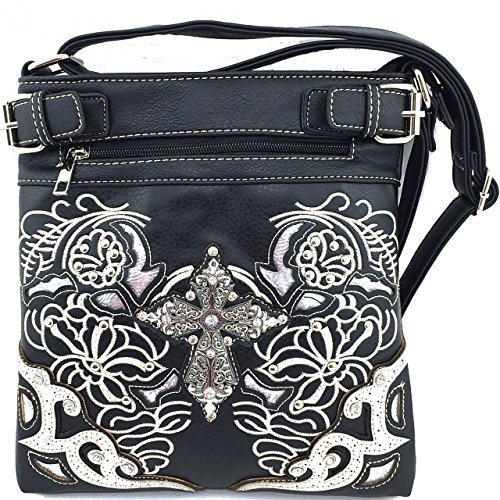 Embroidered Western Rhinestone Cross Messenger Bag Cross Body Purse (Boot Top Purse)