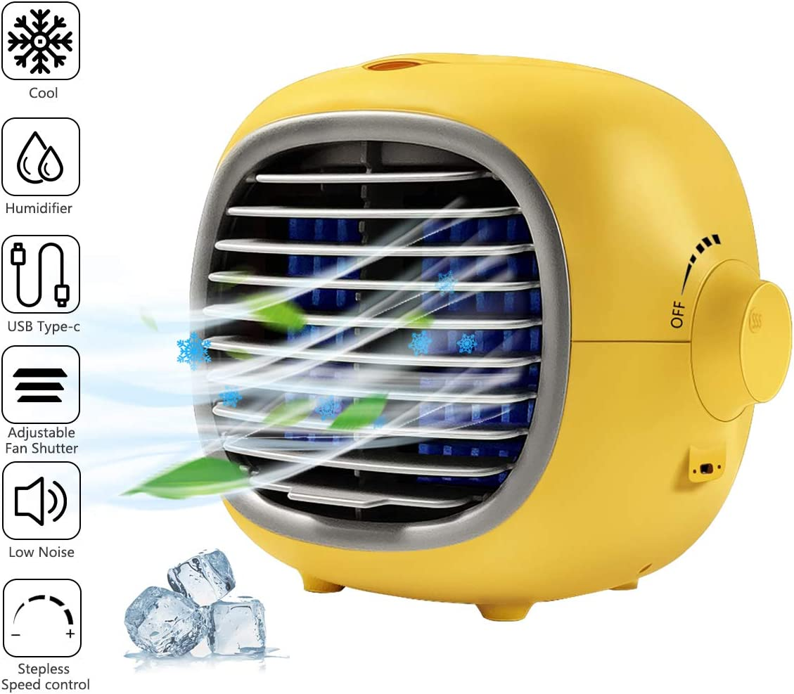 Personal Space Air Conditioner, Jaff Portable Mini Air Cooler Desktop Cooling Fan USB Interface with Stepless control for Home Room Office (yellow)