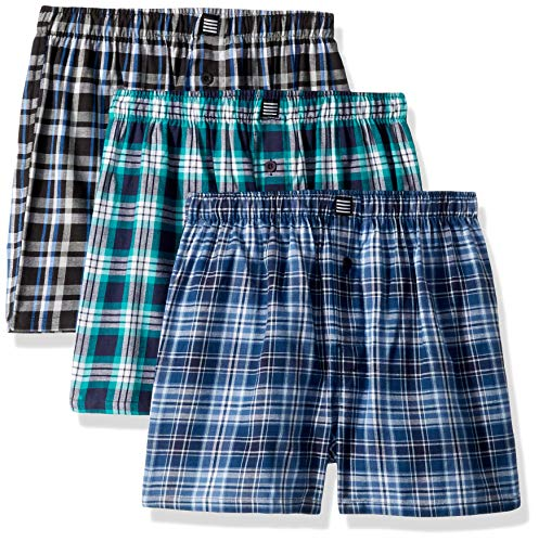 Geoffrey Beene Men's 3 Pack Soft Finish Assorted Boxers, Navy/Black/Aqua, Small