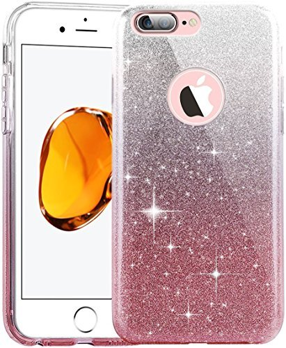 iPhone 6 Plus Case,Inspirationc 3 Layer Hybrid Semi-transparent Soft Bling Crystal Diamond Cover Case for iPhone 6 Plus/6S Plus 5.5 Inch--Silver and Pink