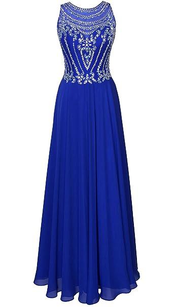 Callmelady Rosario Gasa Vestidos de Fiesta Largos Vestidos de Noche para Mujer (Azul Real,