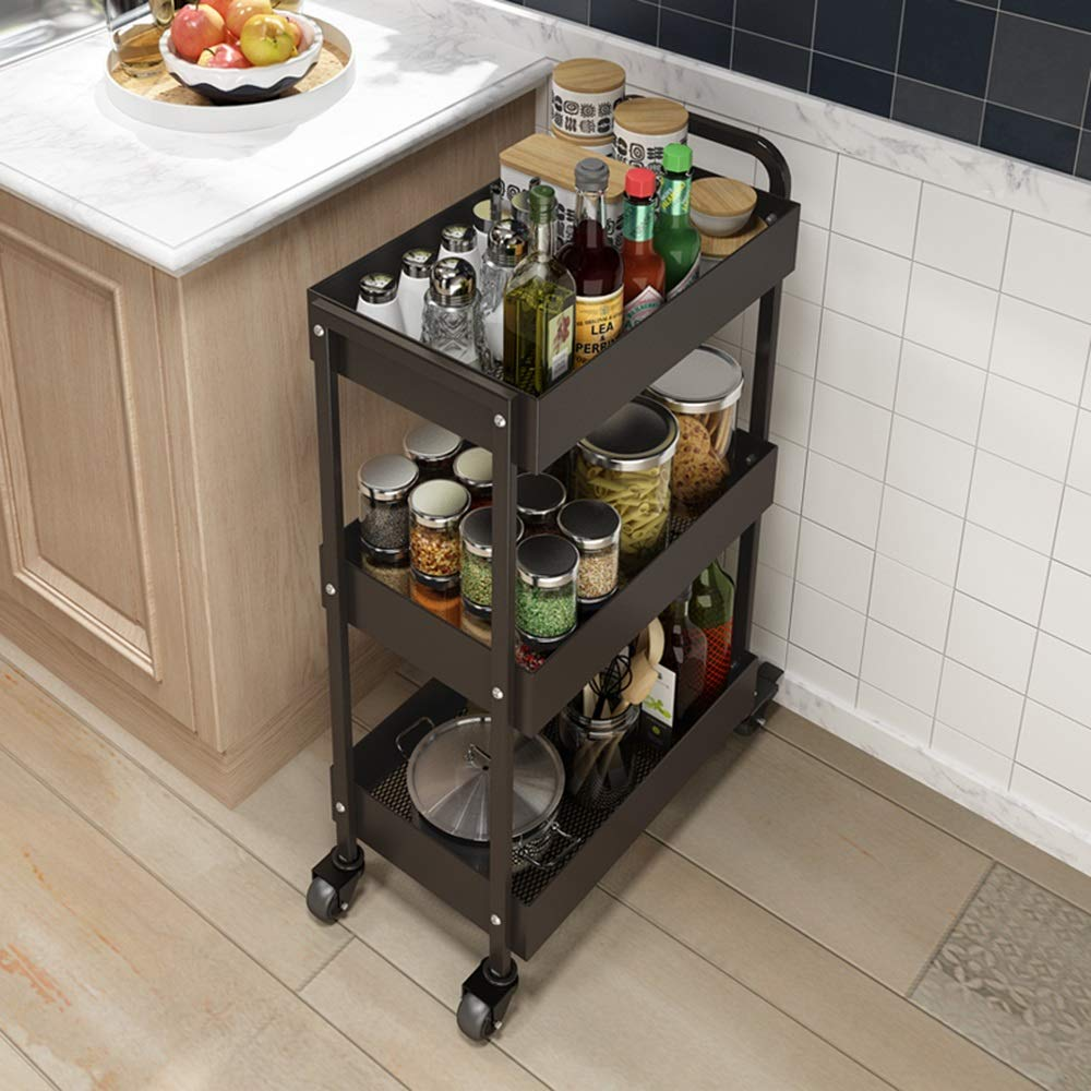 HUO Household Kitchen Storage Rack 3-Layer Storage and Finishing Cart Rack (Color : Coffee) by Kitchen shelf (Image #2)