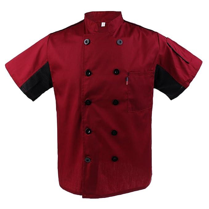 IPOTCH Ropa De Cocina Chef Chaqueta Camisa Ropa De Cocinero Vestido De Catering Ropa De Manga Corta: Amazon.es: Ropa y accesorios