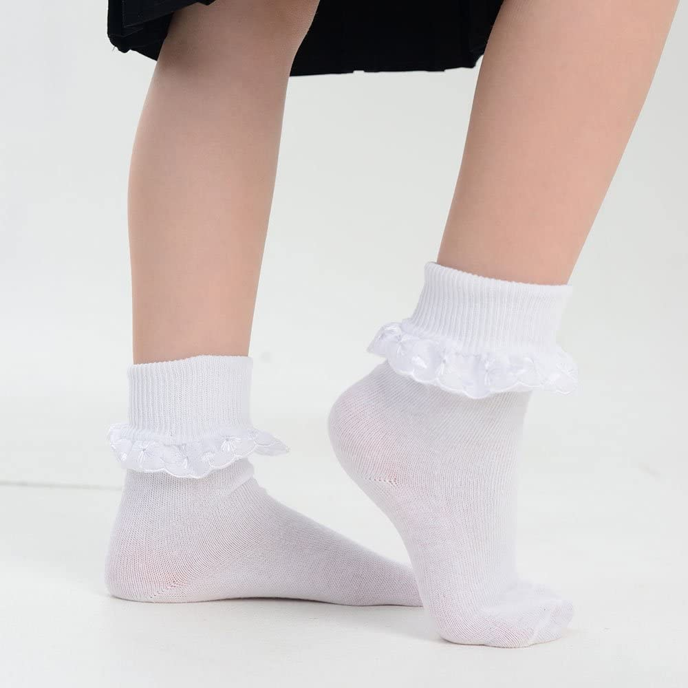 3 pairs girls/' nearly white turn-over top ankle socks 4-6 sizes 9-12