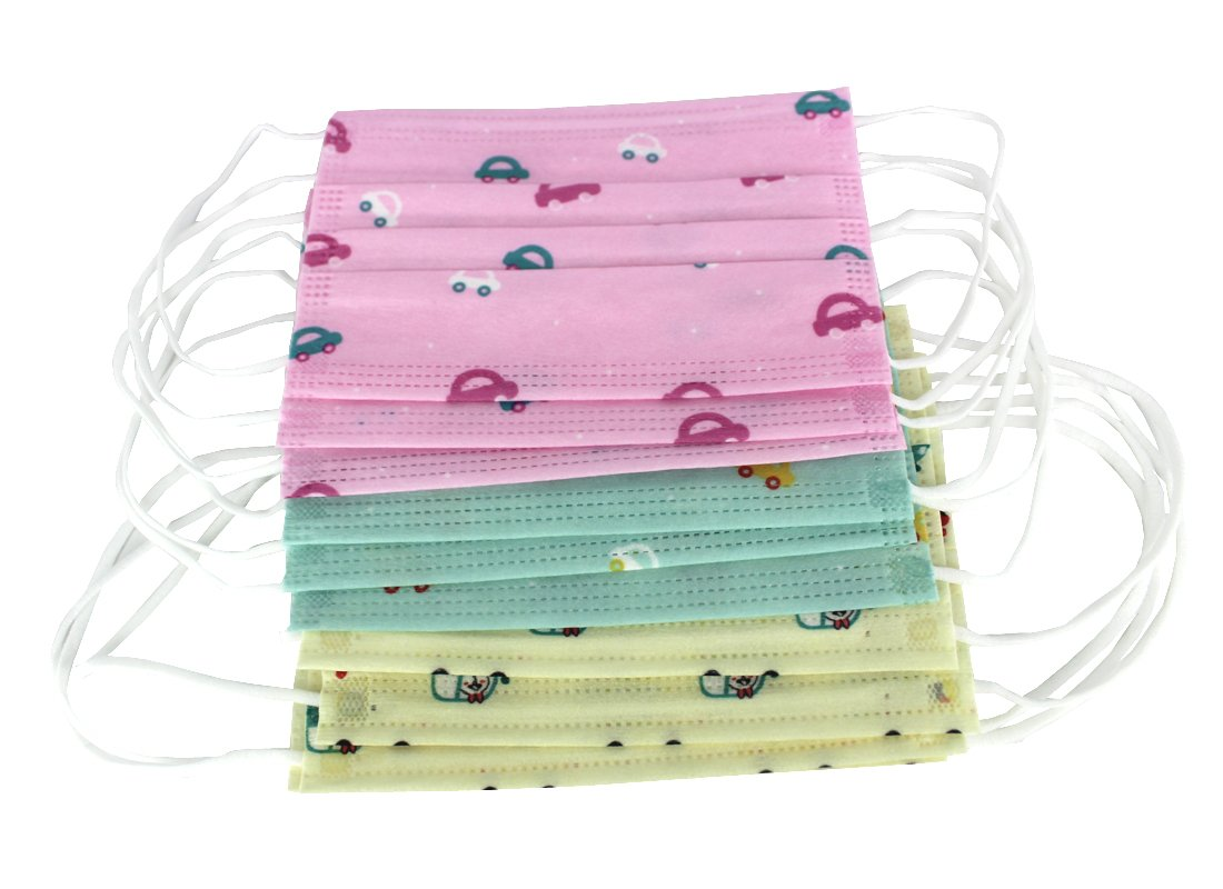 Bestartstore 30pcs 3colors Children's Cute Print Disposable Earloop Breathable Non-Woven Fabric Face Mask Dust Filter Mouth Cover for Kids Boys Girls by Bestartstore