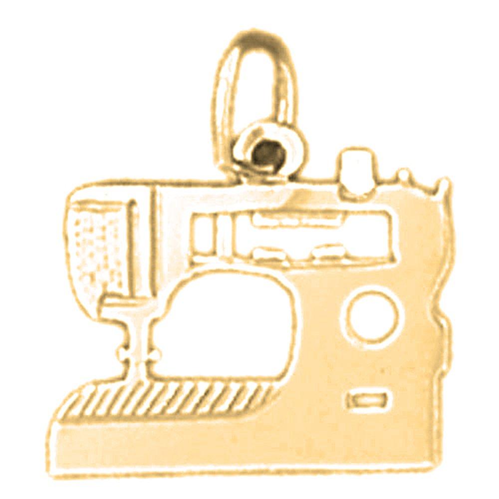 14K Yellow Gold Sewing Machine Pendant 15 mm Jewels Obsession Sewing Machine Charm Pendant