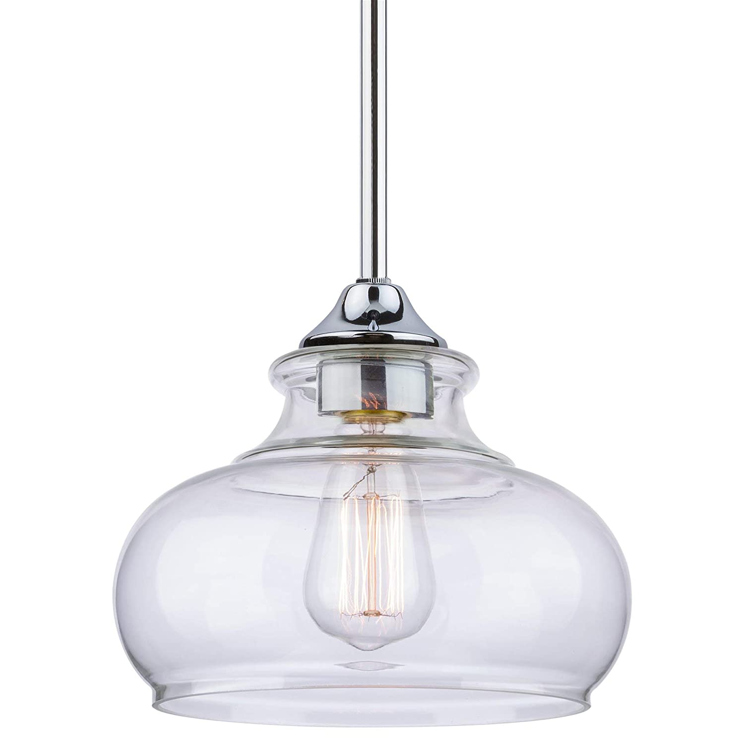 """Kira Home Harlow 9"""" Modern Industrial Farmhouse Stem-Hung Pendant Light with Clear Glass Shade, Adjustable Hanging Height, Chrome Finish"""