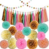 KUYO 42 Pcs Baby Shower Wedding Party Decorations Kit Including Tissue Paper Pom Poms Flowers Tissue Tassel Polka Dot Paper Garland-Gold Mint Green Pink Peach Cream