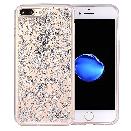 iphone 7plus case and iphone 8 plus case Embedded Flakes Clear Thin Luxury Glitter Leaf Bling Slim Fit Durable Protective (silver)