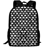 Casual Large College School Daypack, Laptop Outdoor Backpack, Travel Hiking& Camping Rucksack Pack For Geometric Texture Hearts Love Valentine Wedding Th Print Mode