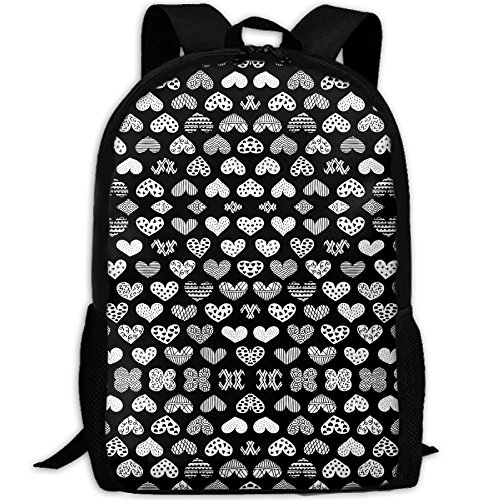 Casual Large College School Daypack, Laptop Outdoor Backpack, Travel Hiking& Camping Rucksack Pack For Geometric Texture Hearts Love Valentine Wedding Th Print Mode by SJNFAK