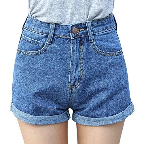 Womens Stretch Carpenter Jean (CHNS Women Retro Short Tight Jeans Curling Denim Shorts High Waist Short Pants)
