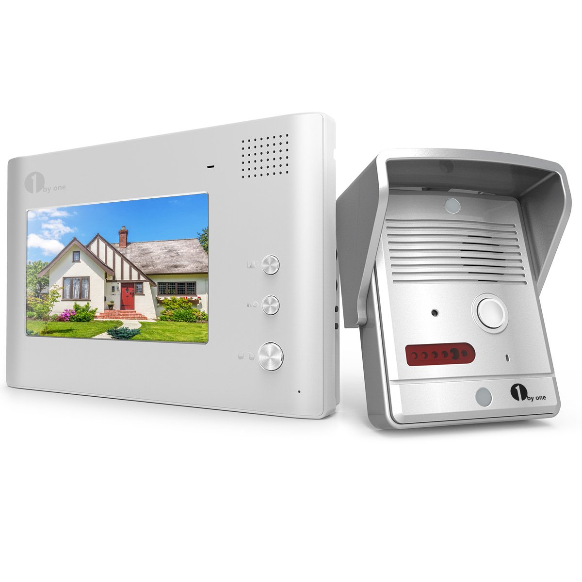 1byone Video Doorphone 2-Wires Video Intercom System 7-inch Color Monitor and Pinhole HD Camera Video Doorbell with 49ft Cable, Simply Intercom Function System