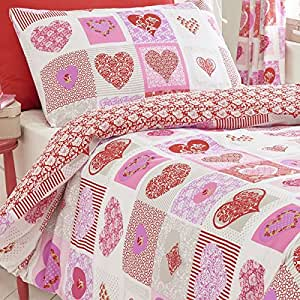 Homespace direct corazones flores patchwork colcha funda - Colchas password para hacer ...