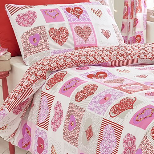 Homespace Direct Corazones Flores Patchwork Colcha Funda de ...