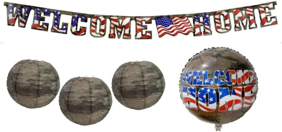 Welcome Home Military Party Decorations: Bundle Includes (1) Welcome Home Mylar Balloon, (1) Welcome Home Banner, and (3) Camo Paper Lanterns, in an American Heroes Design