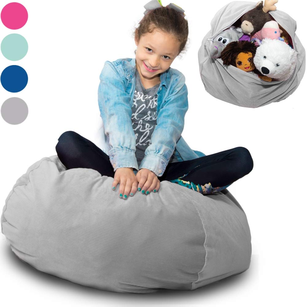 Large Stuffed Animal Storage Bean Bag ❤️''Soft 'n Snuggly'' Corduroy Fabric Kids Prefer Over Canvas - Replace Mesh Toy Hammock or Net - Store Blankets/Pillows Too - 4 Colors by BabyKeeps