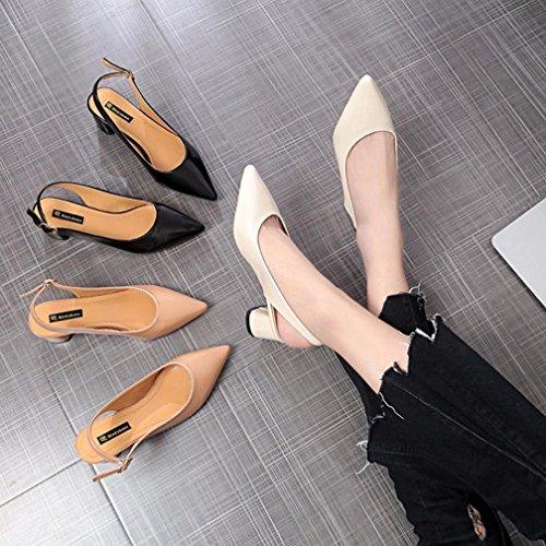 Zapatos Chanclas Beige Sandalias Correa Elegante OHQ Moda De Individuales Playa Romanas Sandalias Sandalias Verano Mujer Grueso TacóN De Zapatillas xxUvAz