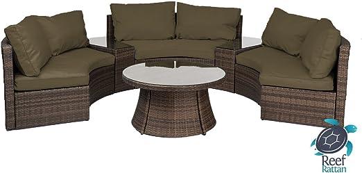 Reef - Juego de sofá de mimbre de media luna y banco curvado, 6 piezas, cojines de chocolate y seta: Amazon.es: Jardín