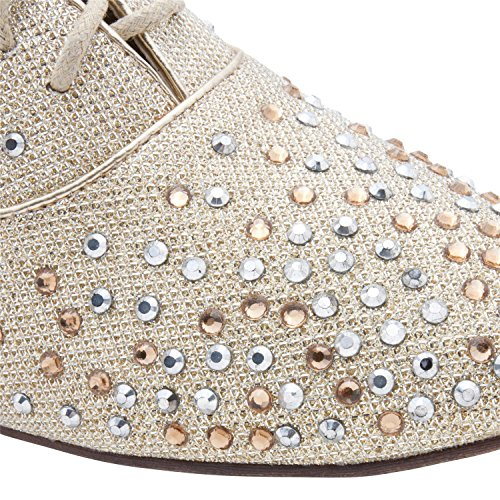 Womens Glittering Studed Asorted Classic Flat Retro Hardloopschoenen Lace-up Shoes Lt Gold