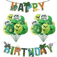 KESYOO 33 Pcs Dinosaur Birthday Party Decorations Happy Birthday Banner Garland Latex Balloons for Kids Birthday Jungle…