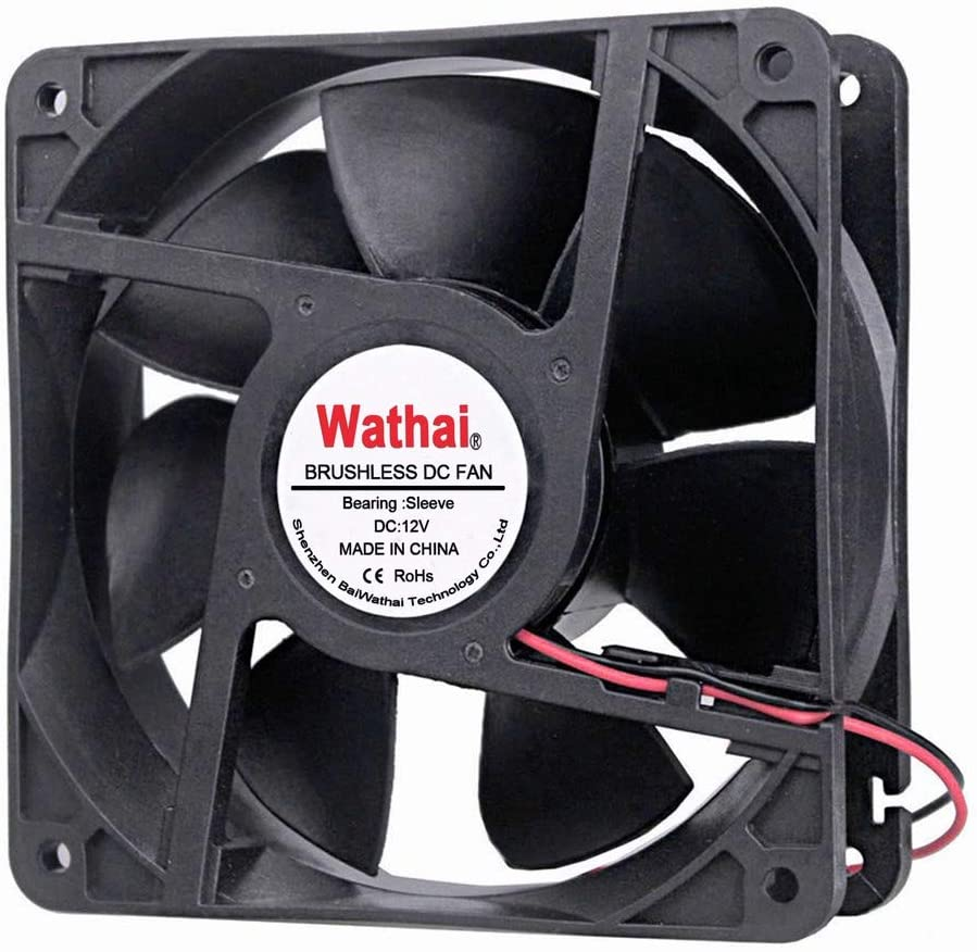 Wathai 2Pin 120mm x 38mm 12V DC Brushless Cooling Fan High Airflow Cooler Fan