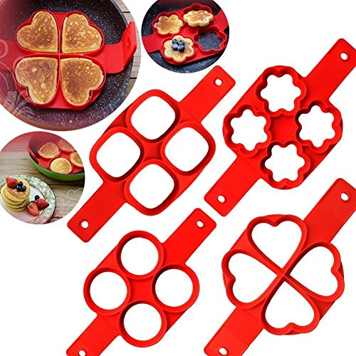 Lanyani 2-pack Silicone Perfect Pancakes Mold Nonstick Egg Ring Maker Breakfast Pancake Shaper – Round and Heart shape, flower and oval (Heart and (Perfect Pancakes)