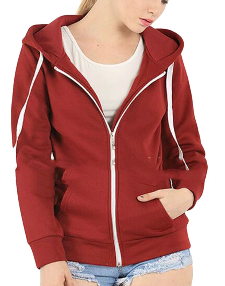 Nanquan-women clothes NQ Womens Plus Size Basic Zip up Hoodie Fleece Jacket Sweatshirt Red US S