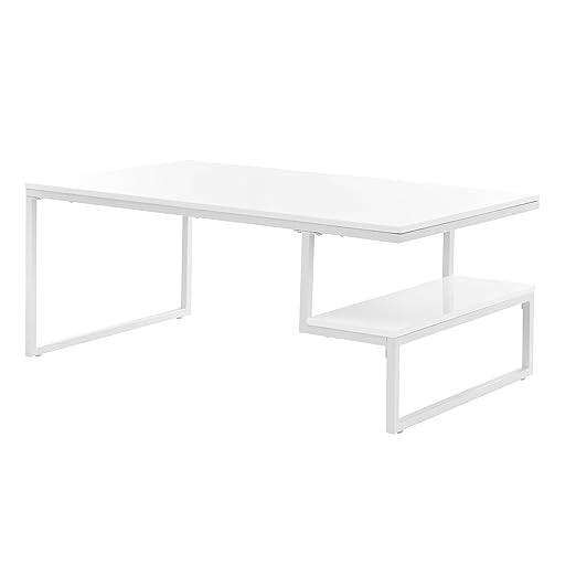 en.casa]®] Mesa de Centro Moderna Lacado Brillante [Blanco] con ...