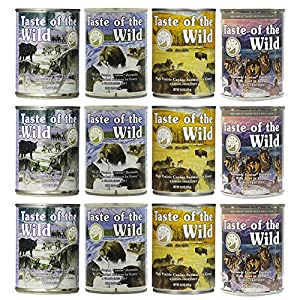 Taste of the Wild Grain-Free Canned Dog Food Variety Pack – Wetlands, Pacific Stream, High Prairie, and Sierra Mountain Pack of 12, 13.2 Ounce cans