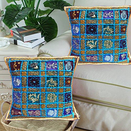 Ethnic Hand Embroidery Sequin Patchwork Indian Sari Throw De