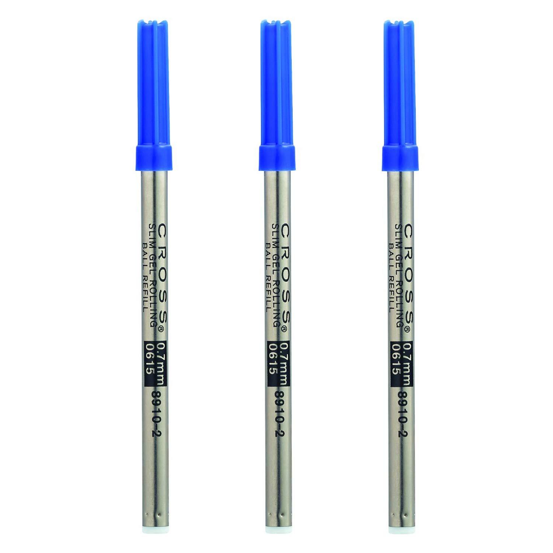 Cross Gel Rollerball Pen Refill (Blue/Slim/3Pack) by Cross