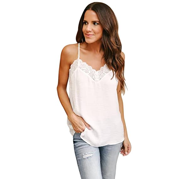 Women Chiffon Summer Sleeveles Lace V-Neck Strap Vest Tank Tops Blouse T-Shirt at Amazon Womens Clothing store: