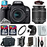 Canon EOS Rebel 800D/T7i Camera + 18-55mm IS STM Lens + 2yr Extended Warranty + 32GB Class 10 Memory Card + Backup Battery + Canon Bag + 16GB Class 10 + Tulip Lens Hood - International Version