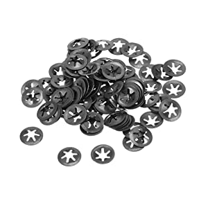 uxcell M4 Starlock Washer 3.5mm I.D. 12mm O.D. Internal Tooth Lock Washers Push-On Locking Speed Clip 65Mn Black Oxide Finish 100pcs