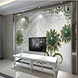LHDLily 3D Wallpaper Mural Wall Sticker Thickening Royal Luxury And Elegant Flowers And Parquet Tv Contracted Large Wall Papers Home Decor 300cmX200cm