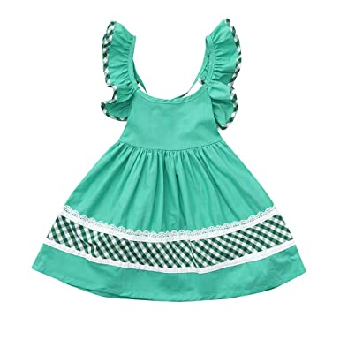 ac098eb815 SSZZoo Toddler Baby Girls Dresses Sleeveless Solid Color Plaid Print  Backless Lace Summer Skirt (Green