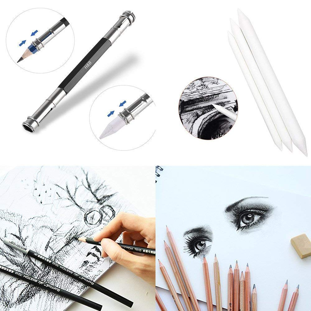 Sketching Pencil Set, DDream 29 Pieces Drawing Pencil Sketch Pencils Set for Artists Adults Children Include Pencils, Charcoal Pencils, Canvas Pencil Bag and Accessories