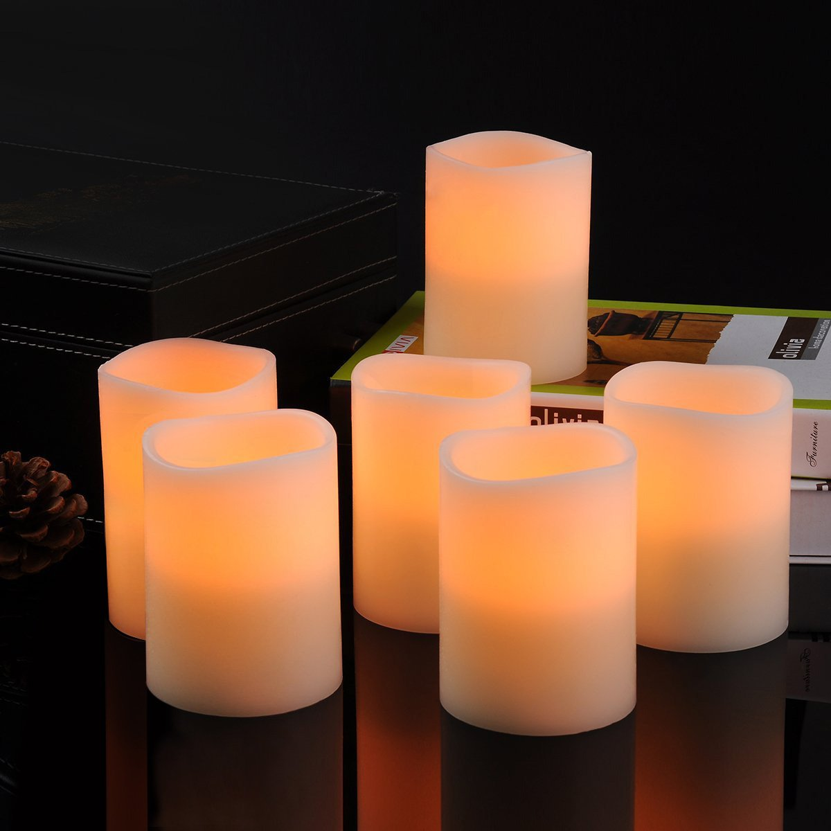 Kohree Flameless Candles Light LED Candles with Built-in Daily-Cycle Timer, Outdoor Battery Operated Led Real Wax Candles Light, Pillar Candle, Warm White Pack of 12 by Kohree (Image #7)
