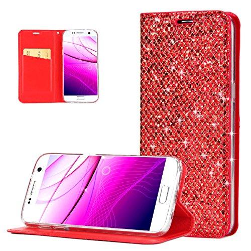 Hülle für Samsung Galaxy S6 Edge [Nicht für S6], Handyhülle Flip Case Schutzhülle PU Leder Handytasche Glitzer Luxus Glitter Bling Glänzend Hüllen Tasche Etui Dünn Klapphülle für Samsung Galaxy S6 Edg Rot