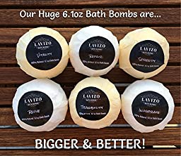 Ultra Premium USA Made Bath Bombs Gift Set - 6 XXL 6.1oz Fizzies - Lush, Moisturizing & Luxurious - Organic & Natural Ingredients - Essential Oil Spa Balls - Perfect Valentine\'s Day Gift Idea