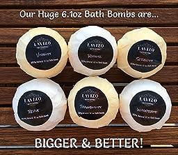 Ultra Premium USA Made Bath Bombs Gift Set - 6 XXL 6.1oz Fizzies - Lush, Moisturizing & Luxurious - Organic & Natural Ingredients - Essential Oil Spa Balls - Perfect Valentine\'s Day Gift Idea