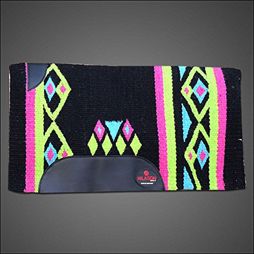 HILASON Western New Zealand Wool Horse Saddle Blanket Black Green Pink