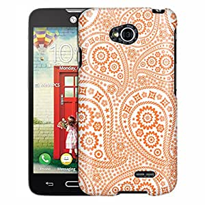 LG Ultimate 2 Case, Slim Fit Snap On Cover by Trek Paisley Orange and Flowers on White Case