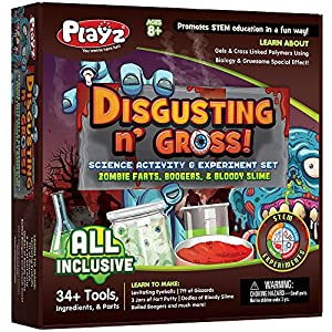Playz Disgusting n' Gross Zombie Poop, Boogers, & Bloody Slime Science Activity & Experiment Set – 34+ Tools to Make Levitating Eyeballs, Gizzards, Poop Putty & Boiled Boogers for Boys & Girls Age 8+