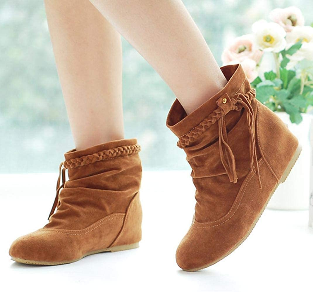 F1rst Rate Womens Casual Solid Strap Knot Tasse Slouchy Mid-Calf Pull On Low Heels Boot