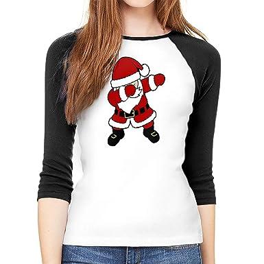 6156a255 PLO Dabbing Santa Claus Christmas Womenâ€s Baseball T-Shirt Raglan T-Shirt