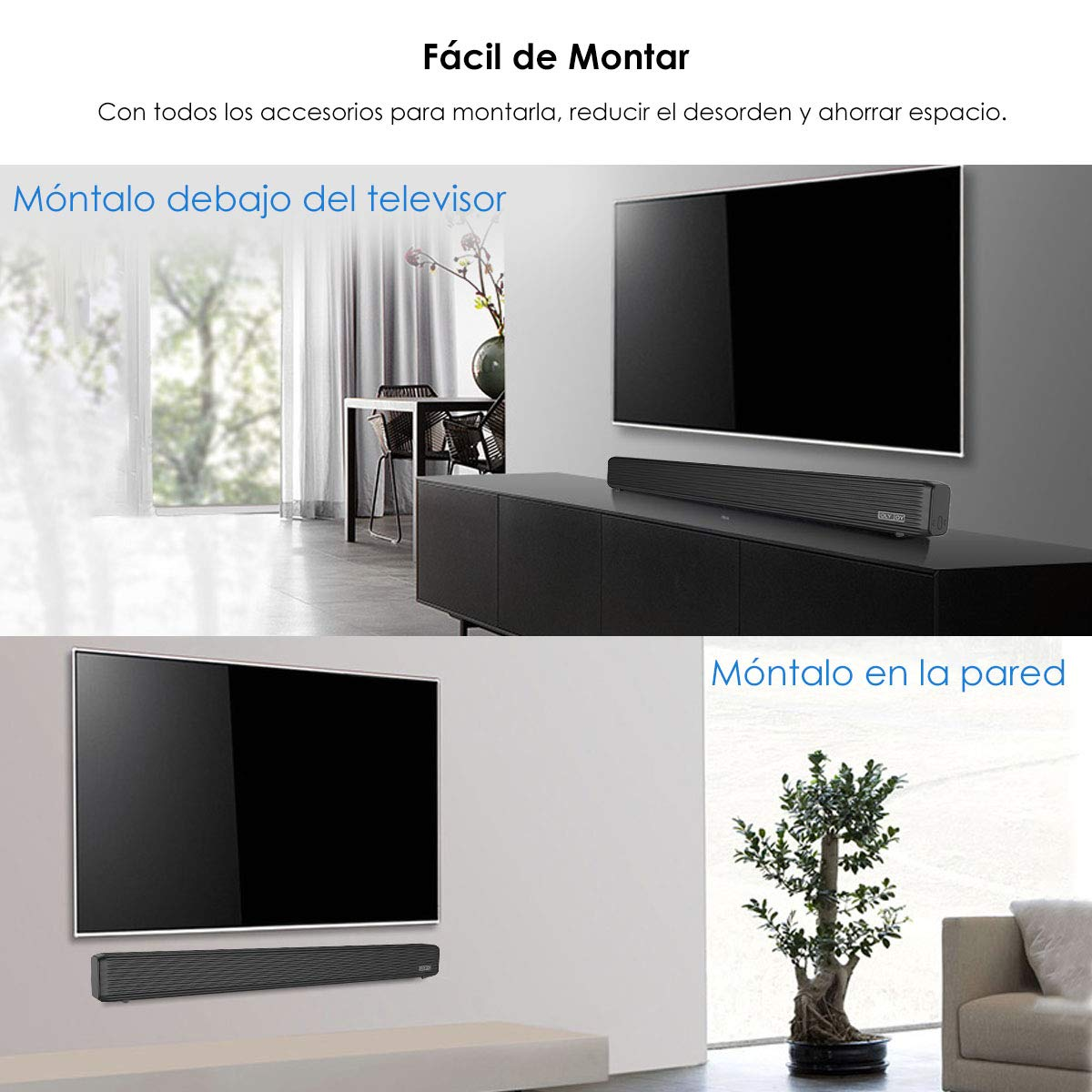 Barra de Sonido, Wellwerks 95W Altavoz de Audio para TV Bluetooth V4.2 [Conexiones Alámbrico/Inalámbrico] Bluetooth Sound-Bar Subwoofer para ...