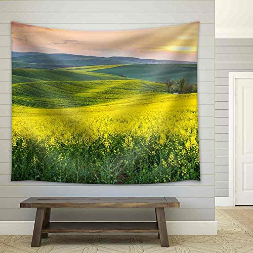 Spring Fresh Landscape of Colorful Fields Sunrise Sky and Beautiful Hills Valley Fabric Wall